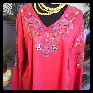 Women's Embroidered Tunic Sz 1X EUC boho chic